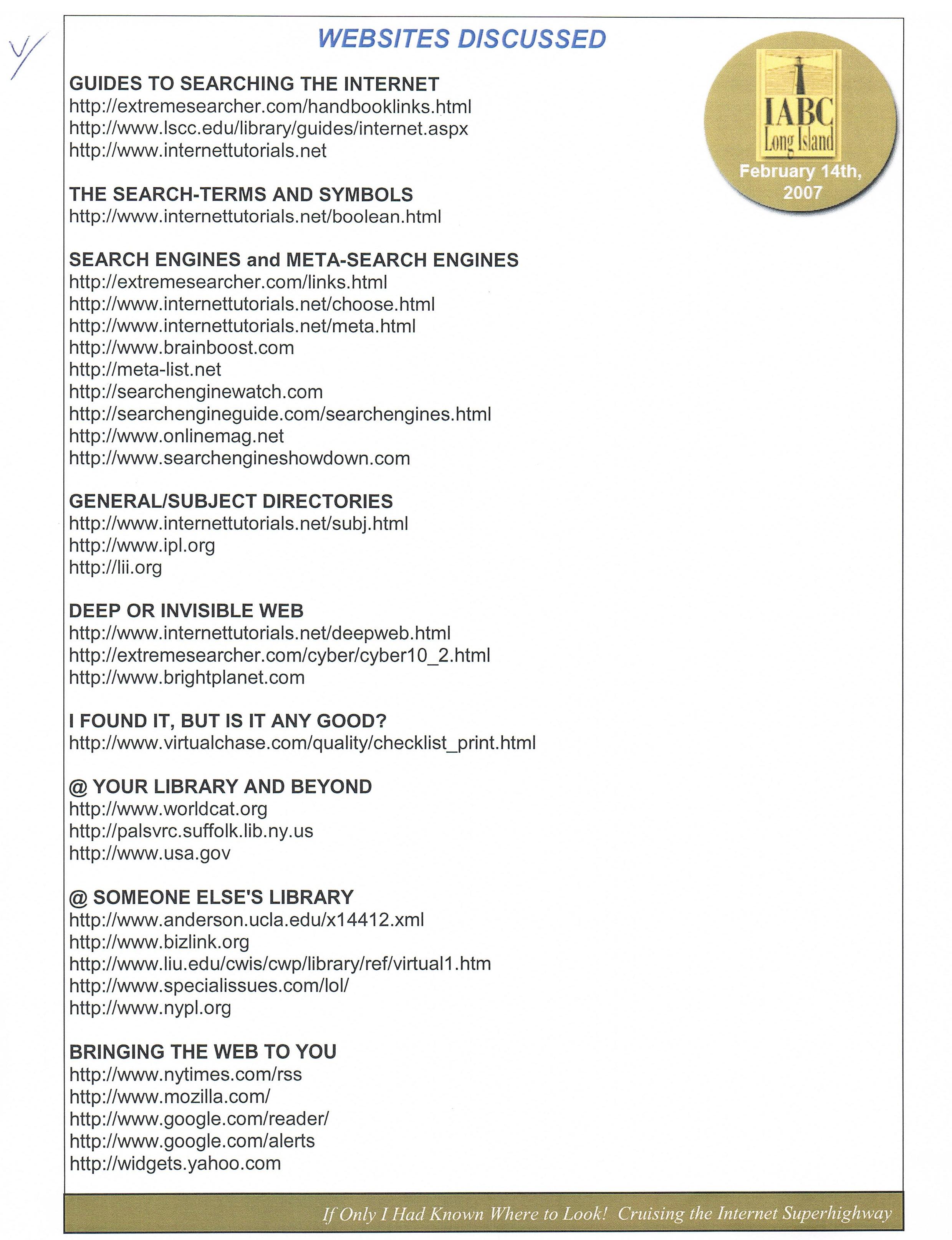 Websites Discussed IABC 2007 – QGroup